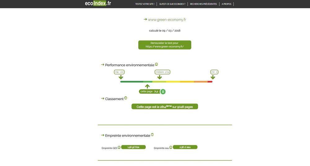 Evaluation de l'empreinte écologique d'un site web avec ecoindex.fr